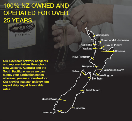 Aegis Oil is Represented Throughout New Zealand